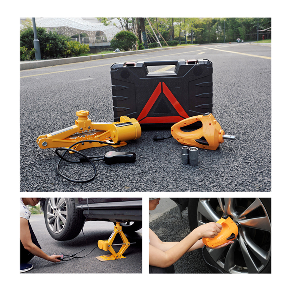12V Car Jack 3T Electric Jack Auto Lift Scissor Jack Electric Wrench Impact Socket Wrench Auto Tyre Change