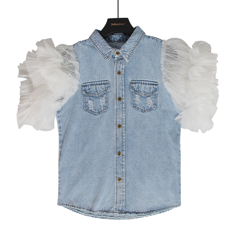 Image 3 - TWOTWINSTYLE Ruffles Denim Patchwork Womens Jacket Lapel Collar Puff Sleeve Summer Long Coats FemaleJackets