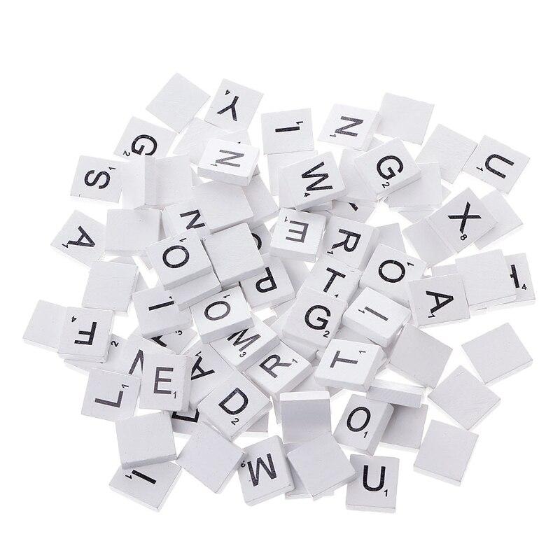 100 шт., деревянные разноцветные слабые плитки, Смешанные Буквы, лакированные алфавиты