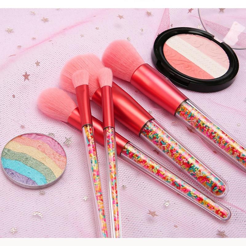 New 5pcs Lollipop Candy Unicorn Crystal Makeup Brushes Set Colorful Lovely Foundation Blending Brush Makeup Tool Maquillaje