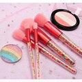 Novo 5 pçs lollipop doces unicórnio cristal pincéis de maquiagem conjunto colorido linda fundação mistura escova maquiagem ferramenta maquillaje