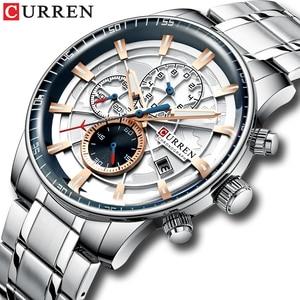 Image 2 - New CURREN Brand Men Watches Chronograph Quartz Watch Man Stainless Steel Waterproof Sports Clock Watches Business Reloj Hombre