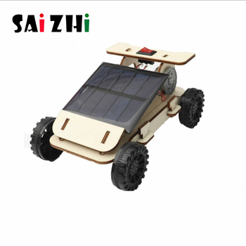 Saizhi juguetes solares para niños Mini juguete de energía DIY Mini coche de madera Kit dispositivo para niños Hobby juguete niños divertido juguete educativo de Ciencia