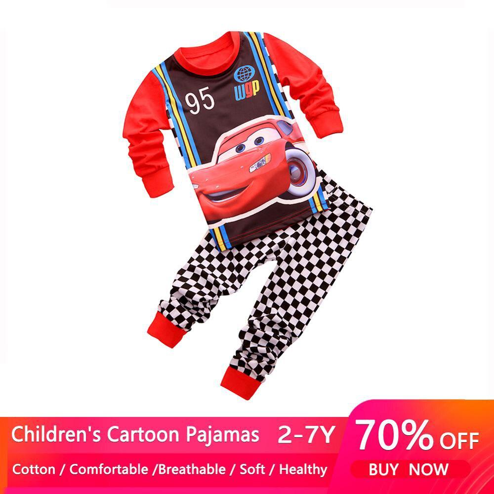 2021 New Kids Pajamas Sets Baby Girls and Boys Pyjamas Cotton Clothes 95 Car Cartoon Long sleeve T-shirt+Pants pyjama