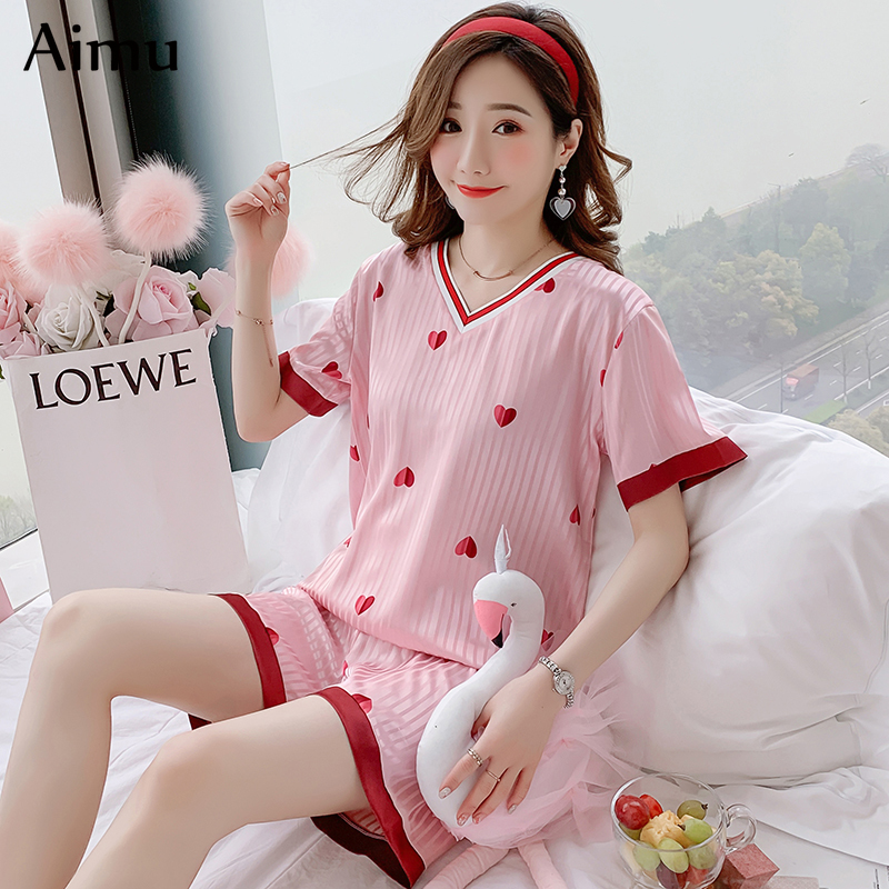 2020 Summer Pajamas For Women Cute Print Short Sleeve Silk V-neck Sleepwear Korean Silk Pajama Set Young Girl Pink Pijama Mujer