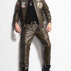 2020 Nuovi Mens Pantaloni Dritti In Vera Pelle Sottile Paio di Pantaloni Lunghi Tasche Maschio Pantaloni del Motociclo di Modo di Marca Più Il Formato 29 -36
