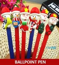 20 개/몫 kawaii 크리스마스 테마 볼펜, 폴리머 클레이 산타 클로스와 눈사람 시리즈 볼펜 쓰기 편지지로