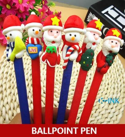 20pcs/lot Kawaii Christmas Theme Ballpoint Pen , Polymer Clay Santa Claus and Snowman Series ball pen as Writing Stationery