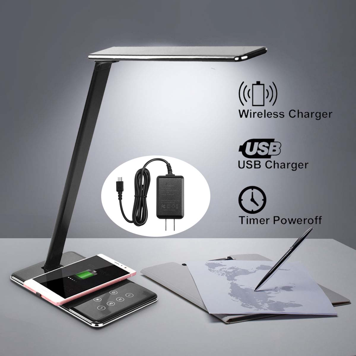 48LED Table Desk Lamp QI Wireless Charging Dimming Touch Switch Reading Light Phone Charger Pad Eye-protect Book Light with Plug