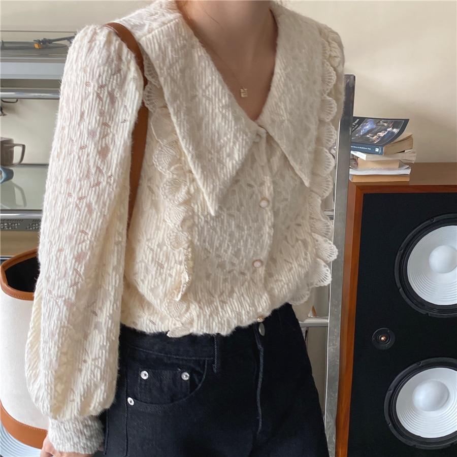 Hc824d2509a8249e097777b92b8a7a6bfQ - Spring / Autumn Chelsea Collar Long Sleeves Lace Blouse