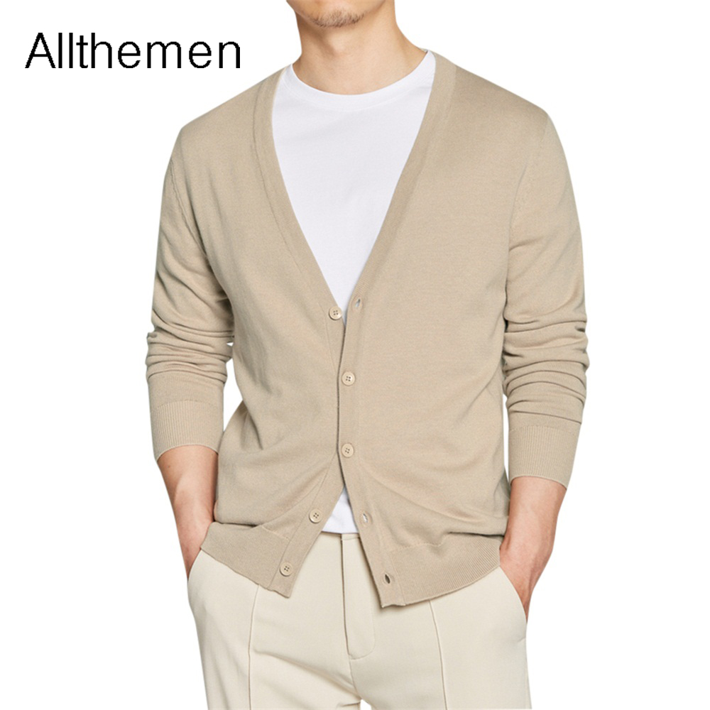 Allthemen Autumn Men's Sweater Male Jacket Solid Color Sweaters Knitwear Warm Cardigans Men Slim Fit Casual Cardigan Men Cloth(China)