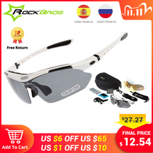 Hot! RockBros Polarized Cycling Glasses Cycling Sunglasses Outdoor Sport Road Bike MTB Mens Glasses TR90 Goggles Eyewear 5 Lens