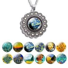 Ван Гог масло ожерелье с картиной (изображением) стразы цветок