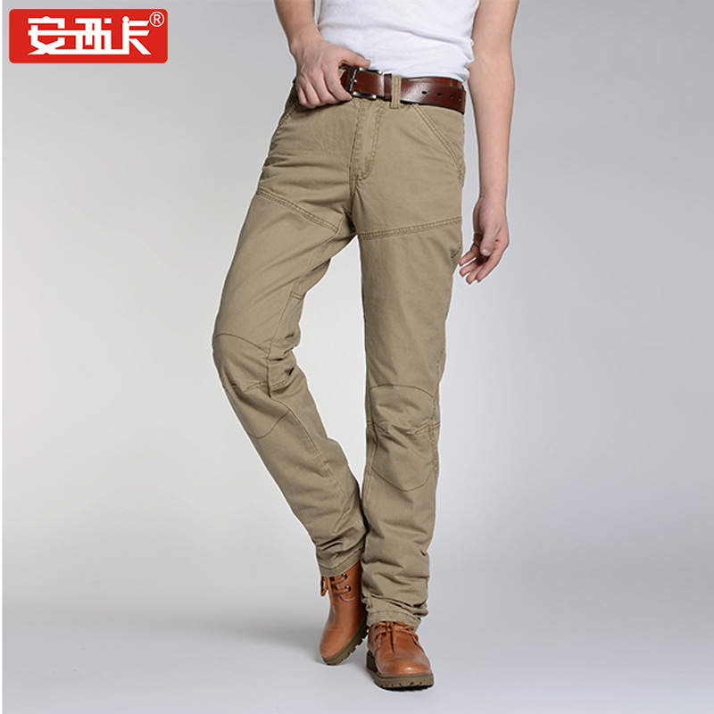 New Style Casual Pants Straight-Cut Korean-style Fashion Slim Fit Bib Overall MEN'S Trousers Jun Zhuang Ku Men's Trousers 8018