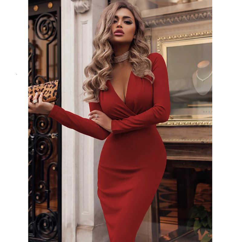 ผู้หญิงฤดูใบไม้ร่วงฤดูหนาวสบายๆแขนยาว Elegant Office Lady ชุดเซ็กซี่ลึก V คอ Bodycon ดินสอ PARTY ชุด