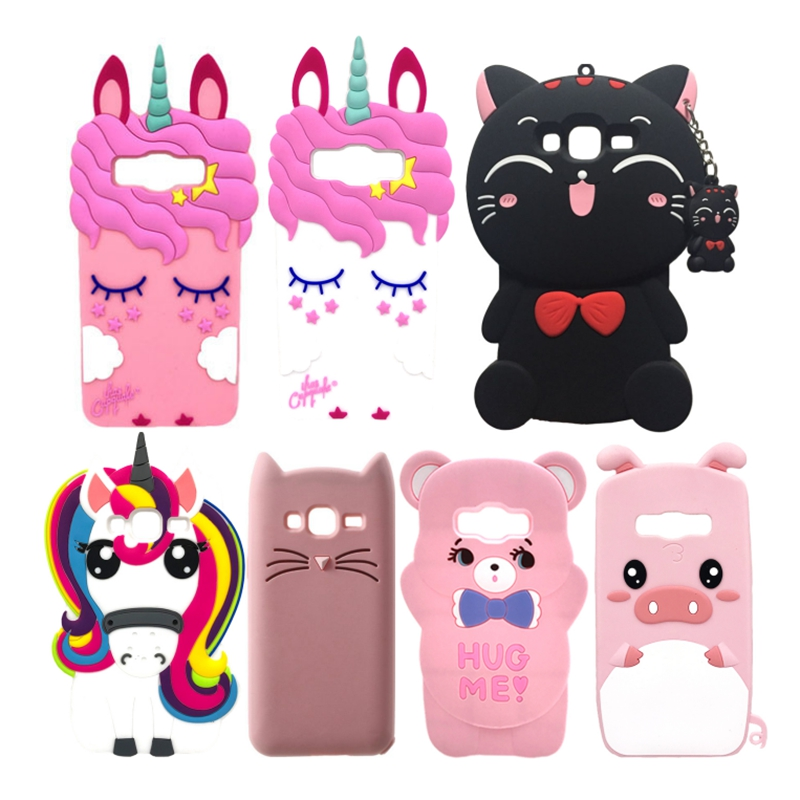 Coque de téléphone Samsung Galaxy Grand Prime en silicone, motif chat licorne, dessin animé 3D, G530, G531, G531H