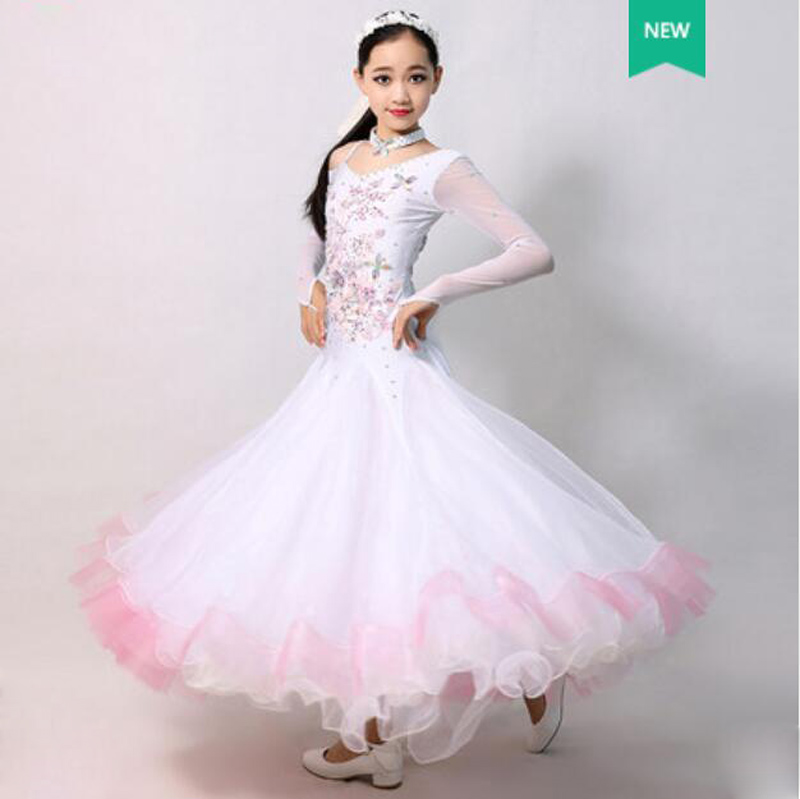 Children White Ballroom Dance Dresses Elegant Long Sleeve Waltz Competition Dancing Skirt Girls Standard Classical Dance Dress