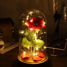 Romance Eternal Life Flower Glass Cover Beauty and Beast LED Battery Rose Lamp Birthday Valentine's Christmas Mother Day Gifts недорого