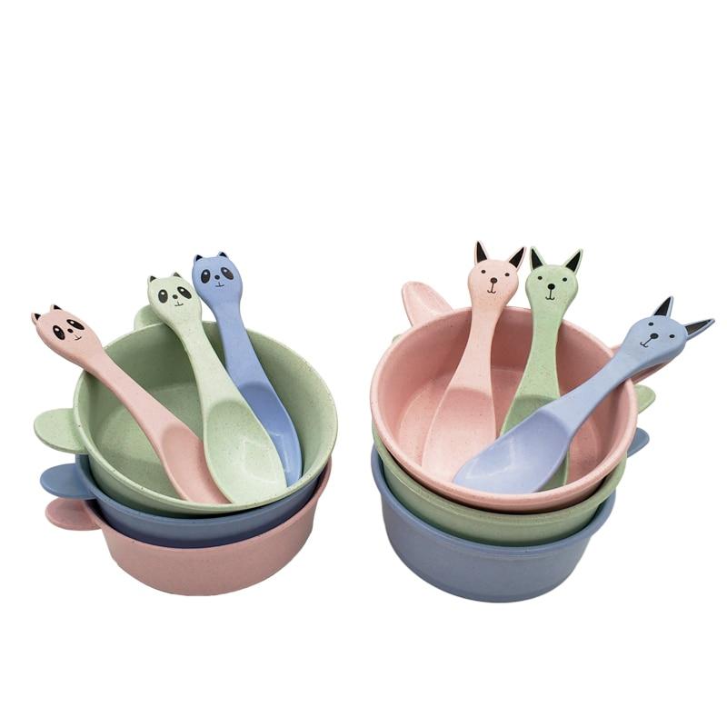 2pcs/set Baby Feeding Food Tableware Wheat Cartoon Cute Ears Kids Dishes Baby Eating Dinnerware Set Anti-hot Training Bowl+Spoon