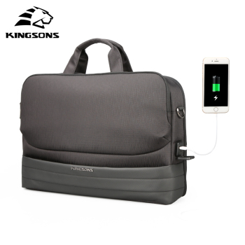Kingsons New Men 15.6 Inch Laptop Briefcase Bag Waterproof Handbag Nylon Notebook Case USB charging laptop bag 15.6