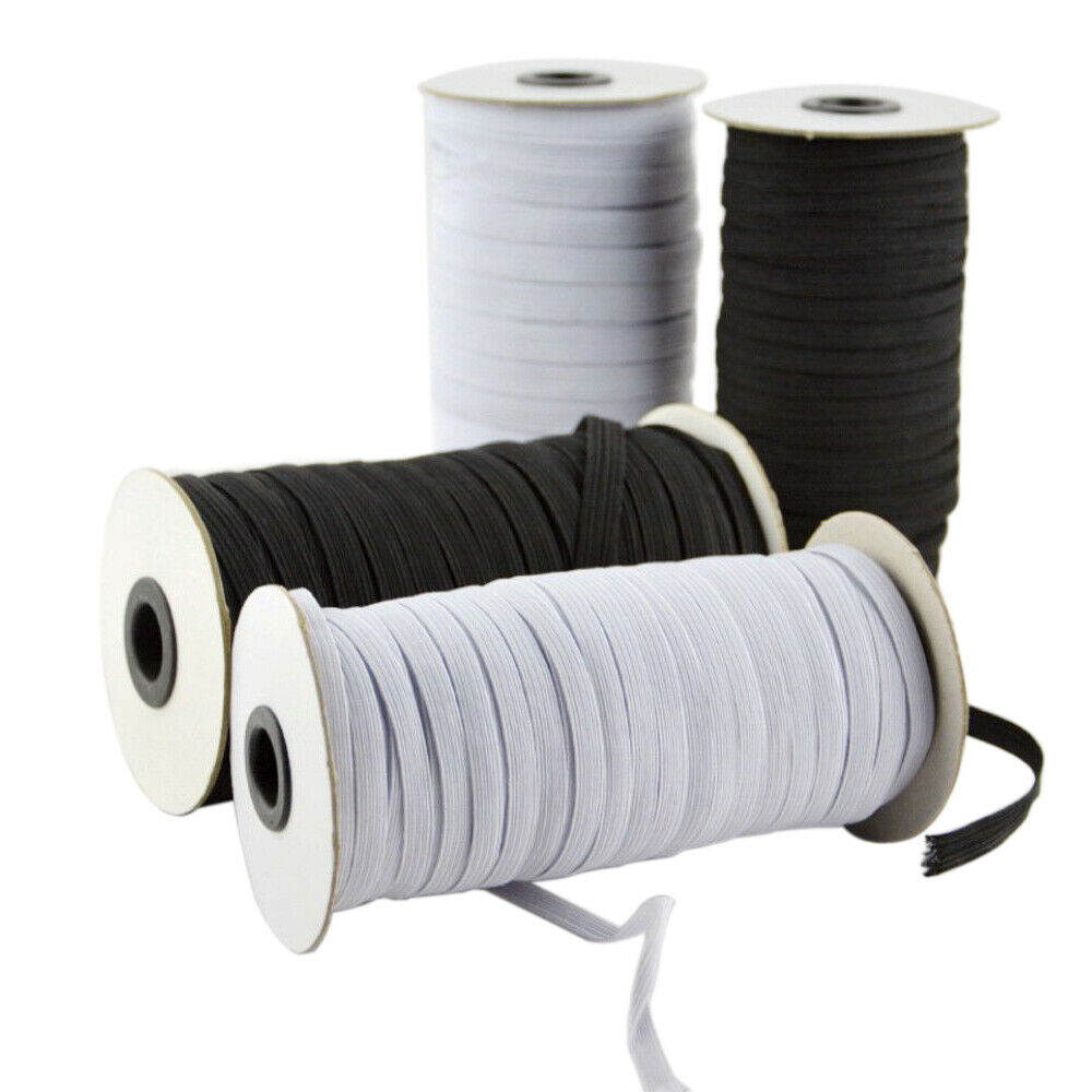 120/144/200/220/288 Yards Flat Elastic Band 3mm/5mm/6mm Rubber Strap Waistband Cloth Sewing Accessory