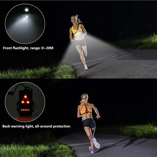 Running Lights LED Night Outdoor Camping Flashlight Warning Light USB Charge Chest Lamp Bicycle Cycling Safety Survival Tool 5