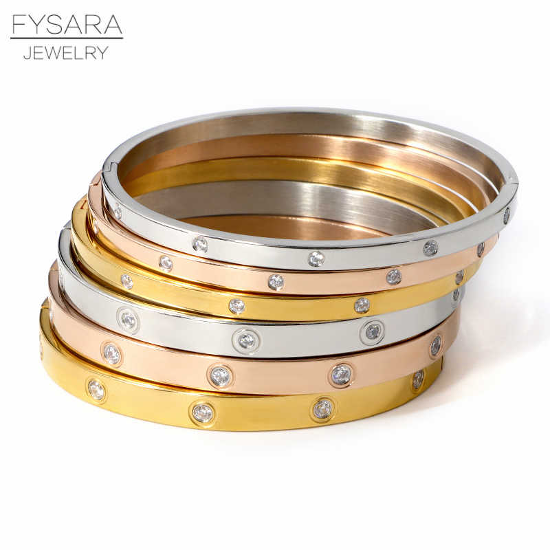 FYSARA Beautiful Lovers Bracelets Woman Bracelets Stainless Steel Bangles and Bangles Cubic Zirconia Golden Woman Jewelry Gifts