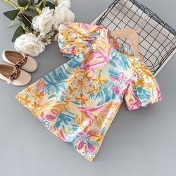 2021 Summer baby girls fashion lantern sleeve graffiti dress for 1 year girl birthday baby clothing kids cheongsam dresses dress