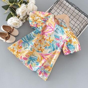 2021 летний модный костюм для маленьких девочек с рукавами-фонариками платье граффити для детей в возрасте от 1 года платье для девочек на день рождения одежда для малышей Ципао детское платье
