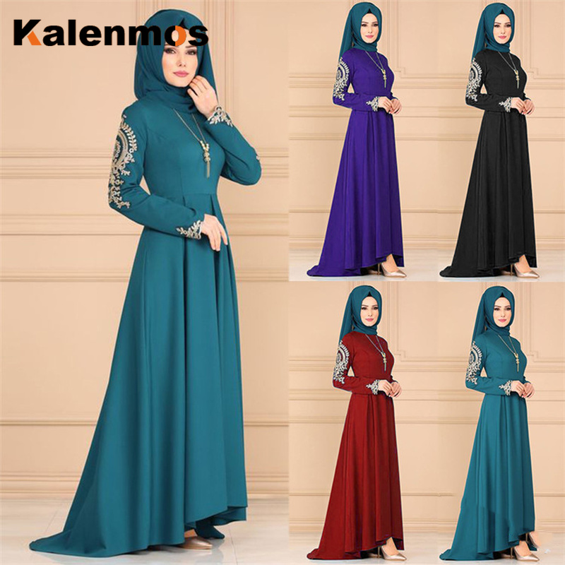 Kalenmos Plus Size 5XL Dubai Arab Muslim Abaya Dresses Women Irregular Big Swing Maxi Dress Robe Kaftan Ramadan Islamic Clothing