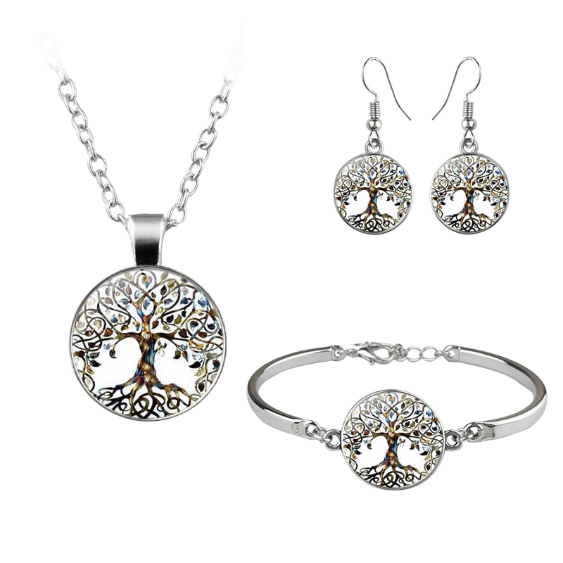 Vintage Tree Of Life Tai Chi Butterfly Jewelry Set Art Picture Glass Dome Cabochon Neckalce Bracelet Earrings For Women