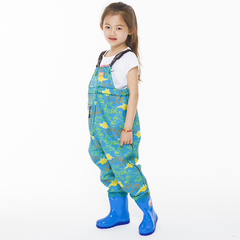 Kids Waterproof Wading Pants With Rain Boots Playing Water Sports Garden Beach Fishing Hunting Children Jumpsuit Wader Trousers