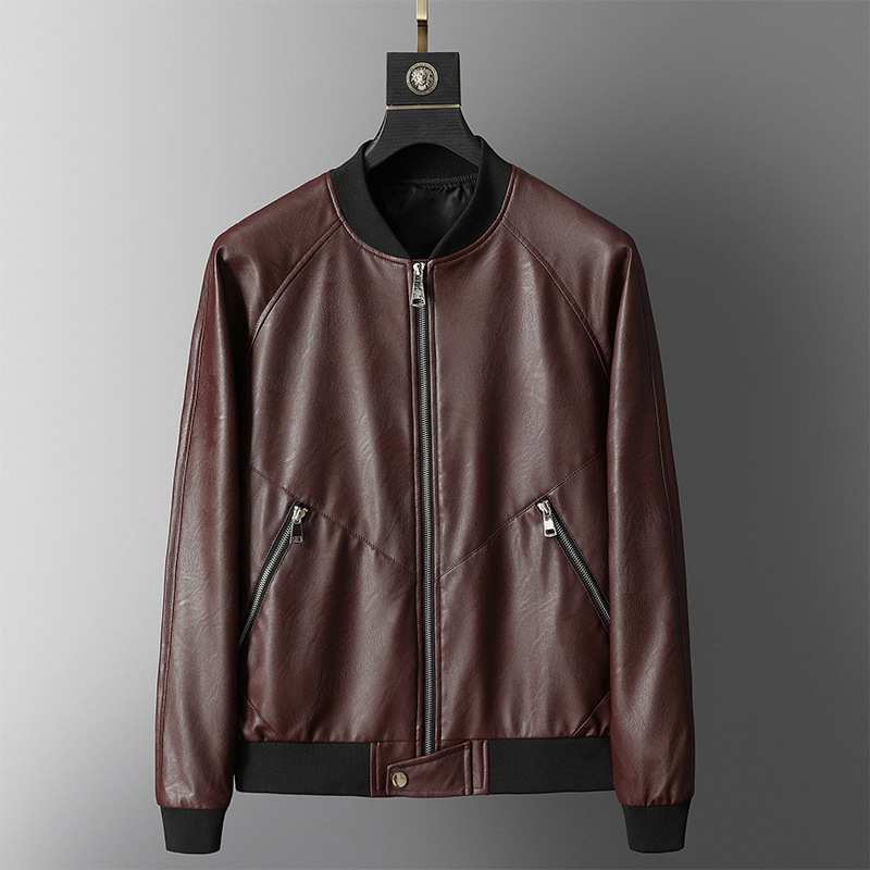 2019 Spring And Autumn New Style Leather Coat Men Middle-aged Baseball Collar Short Dad Coat Korean-style Slim Fit PU Leather Ja