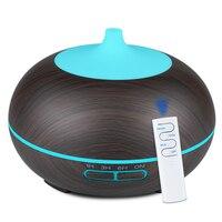 550ml usb aroma difusor de óleo madeira controle remoto umidificador ar ultra sônico aromaterapia névoa maker para casa|Umidificadores| |  -