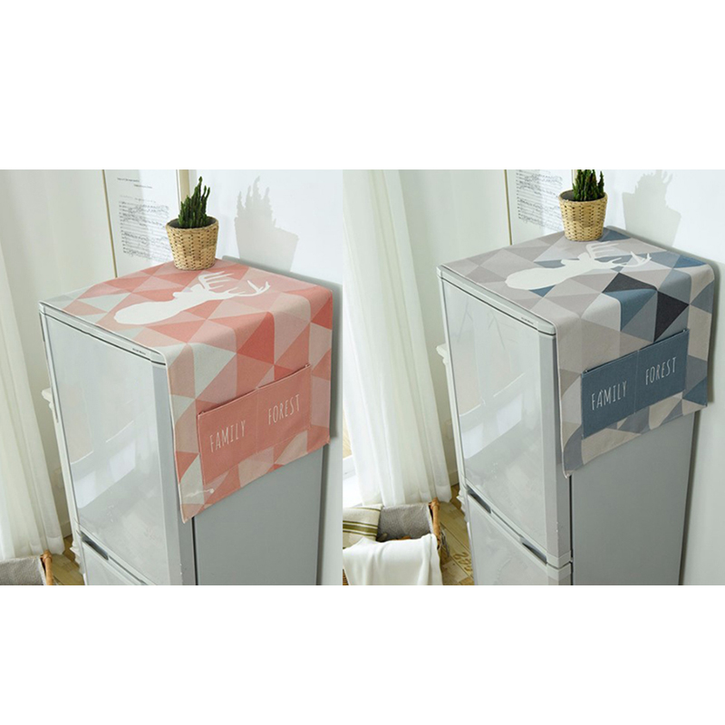 Dust Cover Washing Machine Cover Refrigerator Dust with Pocket Cotton Linen Dust Cover Home Cleaning
