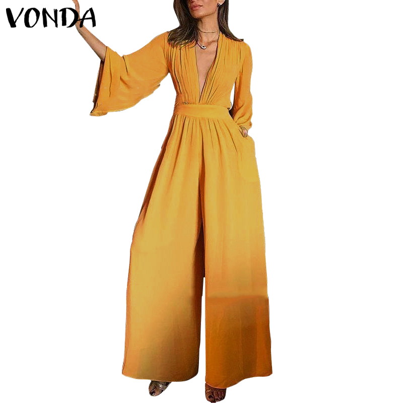 2020 VONDA Romper Womens Jumpsuit Sexy V Neck Casual Playsuit Overalls Ladies Wide Leg Pants Black Playsuit Plus Size Pantalon