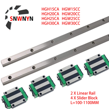 2PCS HGR15 HGR20 HGR25 HGR30 Square Linear Guide Rail+4PCS HGH15CA HGH20CA HGH25CA /Flang HGW15CC HGW20CC HGW25CC HGW30 CNC Part hgr30 hiwin linear rail 2pcs 100% original hiwin rail hgr30 1000mm rail 4pcs hgw30ca blocks for cnc router