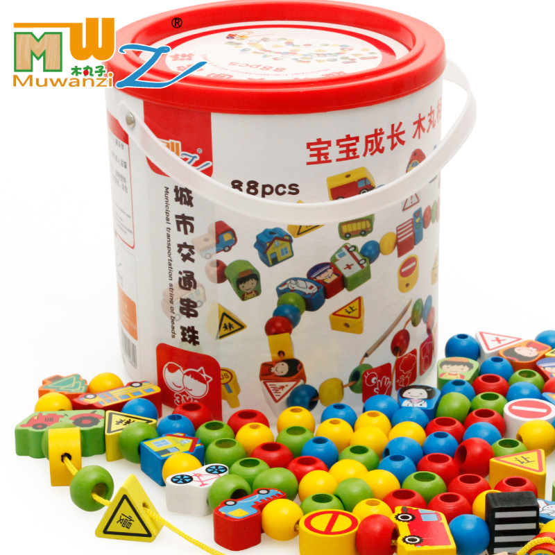 MWZ Beaded Bracelet Wooden Toys With Numbers Lettered City Traffic Barrel Children Beaded Bracelet Threading Educational Toy