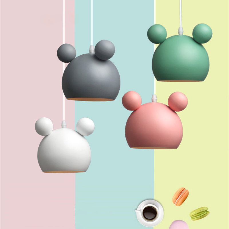 Modern Mickey Kids Led Pendant Lamp Lights Hanging Lamp Hanglamp Light Fixture Colorful Metal Children Lamps Chandelier Lighting