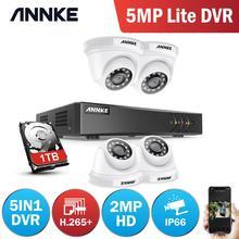 ANNKE Sistema de CCTV para exteriores, Kit de 4 canales, 1080P Lite, 1080P, DVR, 4 Uds., cámaras de seguridad de 2.0MP, Kit de videovigilancia nocturna IR