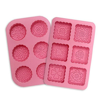 Soap Mold 3D Round and Square 6-Cavity Silicone Mould Lotion Bara Making Cake image