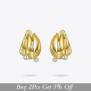 Image 2 - ENFASHION Punk Pearl Double C Hoop Earrings For Women Gold Color Big Statement Earings Fashion Jewelry Pendientes Aro EC191042