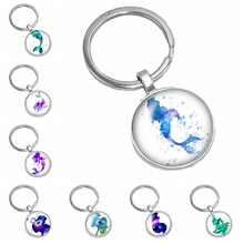 2019 New Hot Colorful Marine Miracle Mermaid Pattern Series Glass Cabochon Keychain Popular Jewelry Gift