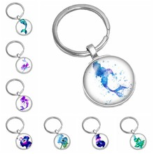 2019 New Hot Colorful Marine Miracle Mermaid Pattern Series Glass Cabochon Keychain Popular Jewelry Gift(China)