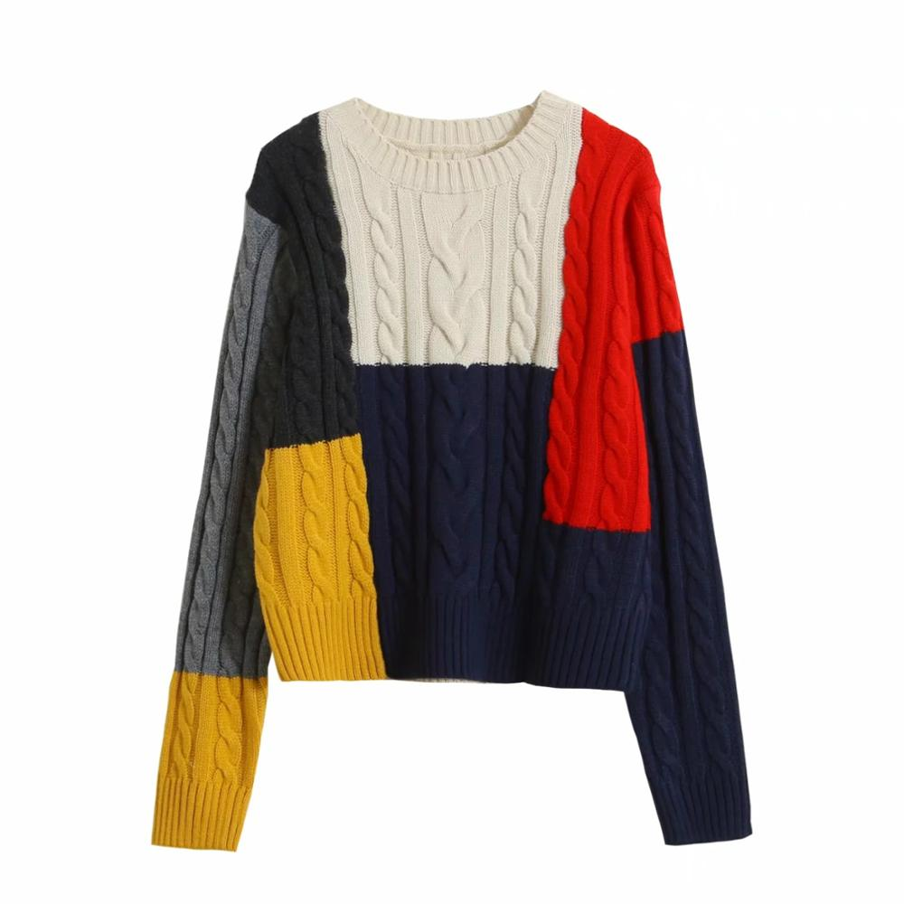 Women Pullover Sweater Contrast Colors Patchwork Twist Knitted Long Sleeve Sweater Streetwear Female Autumn Winter Jumper by Ali Express.Com