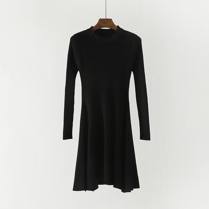 Hc826b7f3cfca4fc19ccd4008c23f48f2z - Women Long Sleeve Sweater Dress Women's Irregular Hem Casual Autumn Winter Dress Women O-neck A Line Short Mini Knitted Dresses