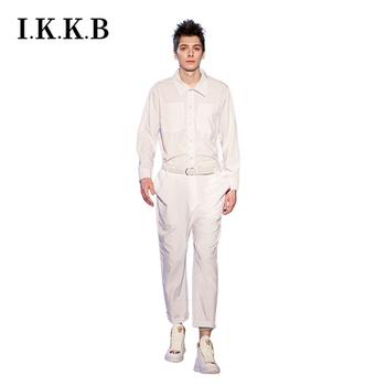 European and American shows designer overalls jumpsuits loose High Street fashions hip-hop stage costumes white jumpsuits tanie i dobre opinie Kombinezony CN (pochodzenie) Mieszkanie REGULAR Pełnej długości Hip Hop Midweight Suknem Zipper fly