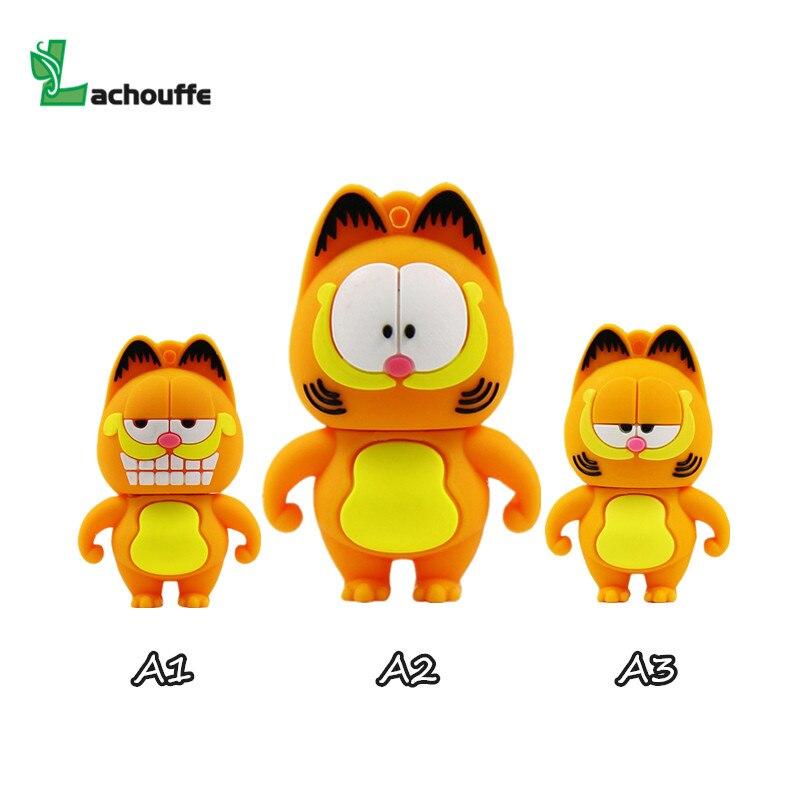 The New Cute Garfield USB Flash Drive USB 2.0 Pen Drive Minions Memory Stick Pendrive 4GB 8GB 16GB 32GB 64GB Gift