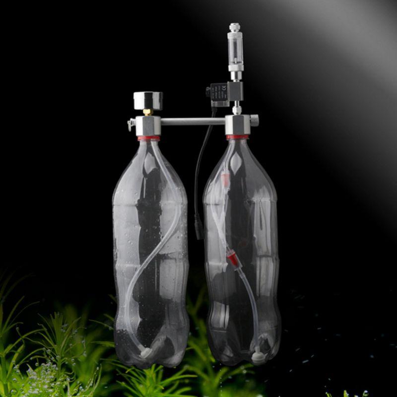 Aquarium DIY CO2 System Generator Kit Bubble Counter Plants Diffuser with Solenoid Valve Fish Tank Regulator Accessories