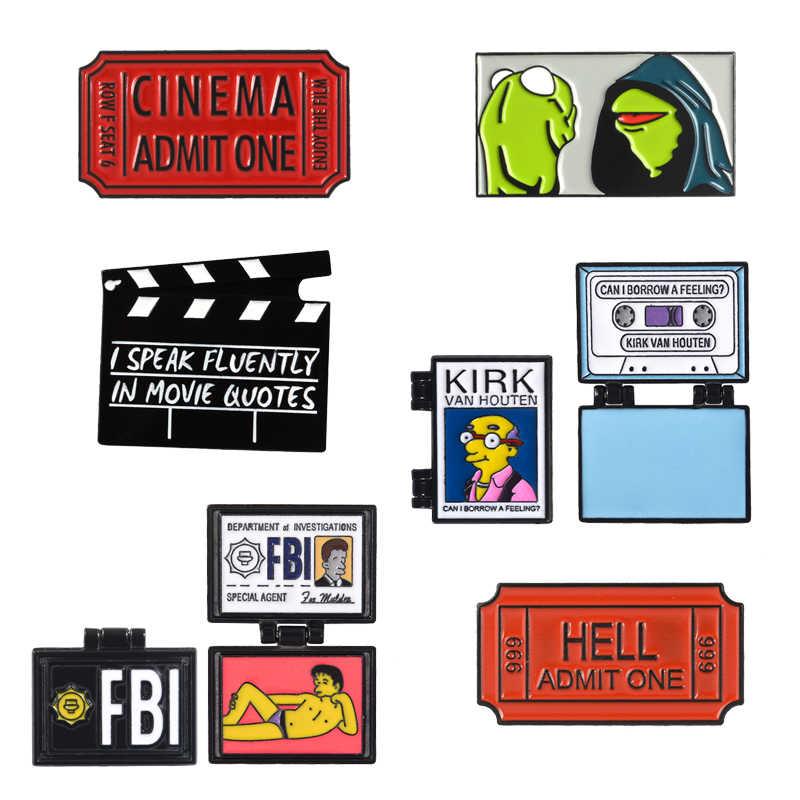 Kirk FBI Simpson fold dello smalto pin Film Record consiglio biglietto spille Rana Kermit Risvolto badge pin Del Fumetto Camicia sacchetto dei monili del sacchetto regalo